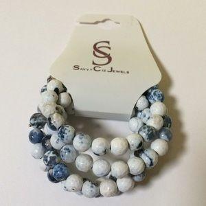 Savvy Cie Agate Slate Wrap Bracelet